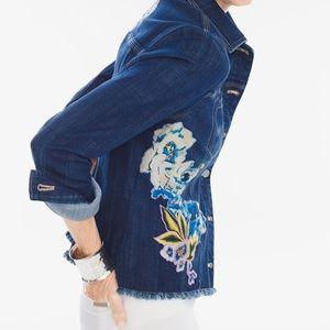 CHICO'S denim appliqué jacket